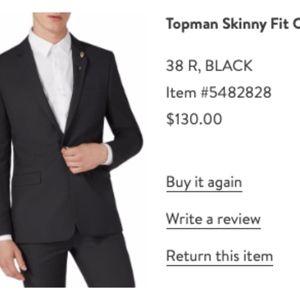 Topman SkinnyFit 1 Button Suit Jacket Sz 38R Black